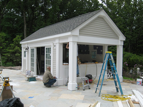 Pool cabana progress landscapeadvisor for Shed into pool house
