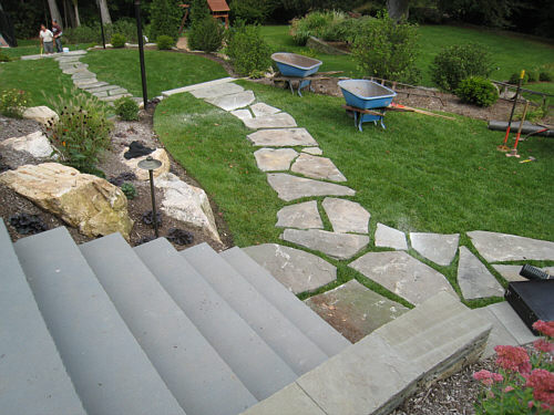 Elegant Flagstone Path Layout Nice Look
