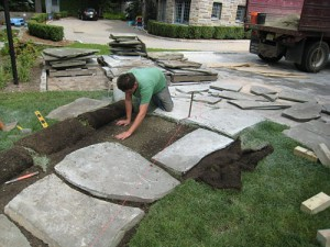 Base preparation and flagstone setting