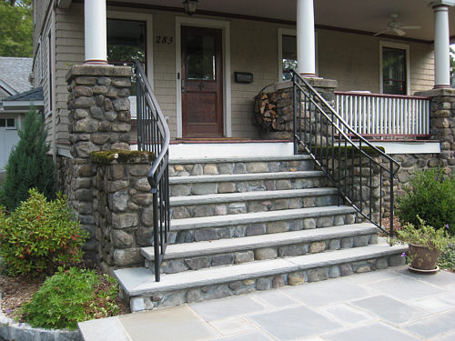 Front steps on pinterest porticos front porches and for Exterior stone stairs design