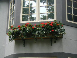artifical arrangement in window box