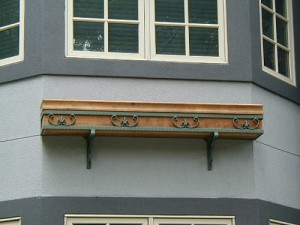 wood and decorative iron window box